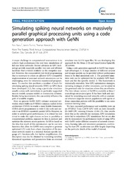 Vol 15: Simulating spiking neural networks on massively parallel graphical processing units using a code generation approach with GeNN.