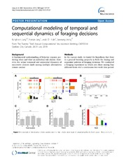 Vol 15: Computational modeling of temporal and sequential dynamics of foraging decisions.