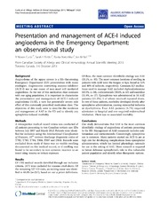 Vol 10: Presentation and management of ACE-I induced angioedema in the Emergency Department: an observational study.