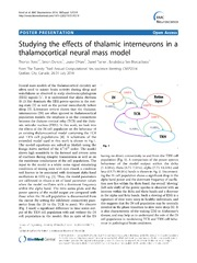 Vol 15: Studying the effects of thalamic interneurons in a thalamocortical neural mass model.