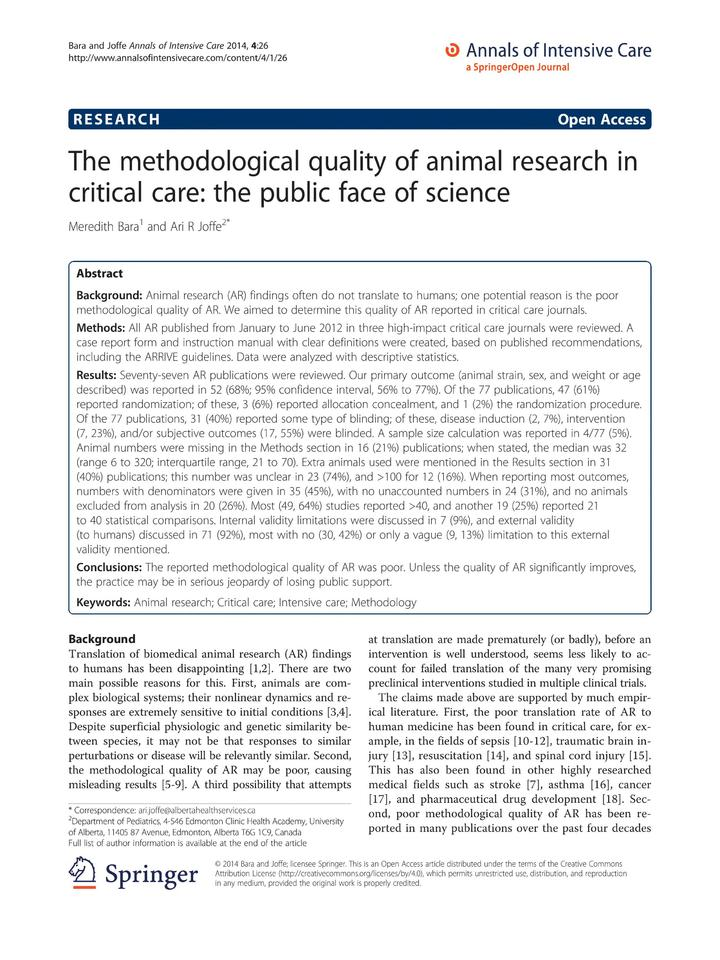 Vol 4: The methodological quality of animal research in critical care: the public face of science.