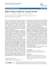 Vol 15: Spike history model for neural control.