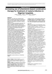 the use of artemisinin based combination therapies Artemisinin-based combination therapies were widely available in the private pharmacies of kinshasa however, the private sector does not guarantee the use of .