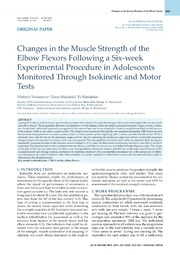 Vol 22: Changes in the Muscle Strength of the Elbow Flexors Following a Six-week Experimental Procedure in Adolescents Monitored Through Isokinetic and Motor Tests.