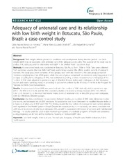 Vol 14: Adequacy of antenatal care and its relationship with low birth weight in Botucatu, So Paulo, Brazil: a case-control study.