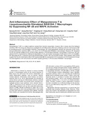 Vol 22: Anti-Inflammatory Effect of Mangostenone F in Lipopolysaccharide-Stimulated RAW264.7 Macrophages by Suppressing NF-B and MAPK Activation.
