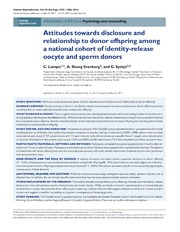 Vol 29: Attitudes towards disclosure and relationship to donor offspring among a national cohort of identity-release oocyte and sperm donors.