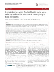 Vol 6: Association between Brachial-Ankle pulse wave velocity and cardiac autonomic neuropathy in type 2 diabetes.