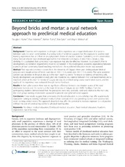 Vol 14: Beyond bricks and mortar: a rural network approach to preclinical medical education.