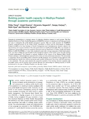 Vol 7: Building public health capacity in Madhya Pradesh through academic partnership.