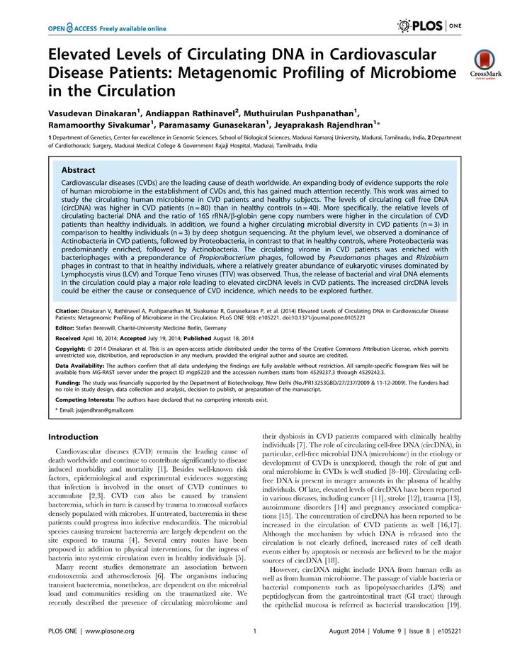 Vol 9: Elevated Levels of Circulating DNA in Cardiovascular Disease Patients: Metagenomic Profiling of Microbiome in the Circulation.