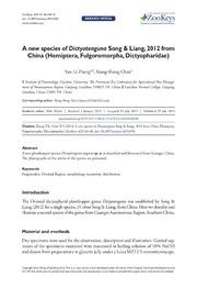 A new species of Dictyotenguna Song and Liang, 2012 from China (Hemiptera, Fulgoromorpha, Dictyopharidae).