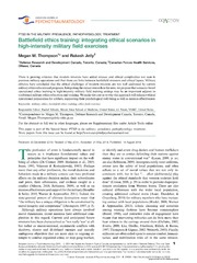 Vol 5: Battlefield ethics training: integrating ethical scenarios in high-intensity military field exercises.