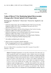 Vol 15: Value of Micro-CT for Monitoring Spinal Microvascular Changes after Chronic Spinal Cord Compression.