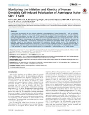 Vol 9: Monitoring the Initiation and Kinetics of Human Dendritic Cell-Induced Polarization of Autologous Naive CD4  T Cells.