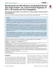 Vol 9: Mycobacterial and HIV Infections Up-Regulated Human Zinc Finger Protein 134, a Novel Positive Regulator of HIV-1 LTR Activity and Viral Propagation.