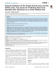 Vol 9: External Validation of the Simple Clinical Score and the HOTEL Score, Two Scores for Predicting Short-Term Mortality after Admission to an Acute Medical Unit.