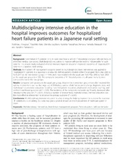 Vol 14: Multidisciplinary intensive education in the hospital improves outcomes for hospitalized heart failure patients in a Japanese rural setting.
