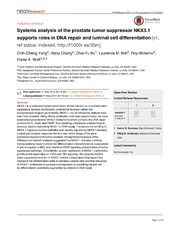 Vol 3: Systems analysis of the prostate tumor suppressor NKX3.1 supports roles in DNA repair and luminal cell differentiation.