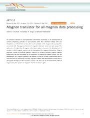 Vol 5: Magnon transistor for all-magnon data processing.