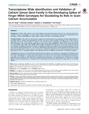 Vol 9: Transcriptome Wide Identification and Validation of Calcium Sensor Gene Family in the Developing Spikes of Finger Millet Genotypes for Elucidating Its Role in Grain Calcium Accumulation.