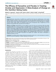 Vol 9: The Efficacy of Paroxetine and Placebo in Treating Anxiety and Depression: A Meta-Analysis of Change on the Hamilton Rating Scales.