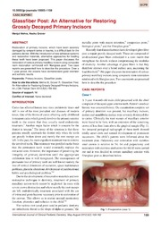 Vol 5: Glassfiber Post: An Alternative for Restoring Grossly Decayed Primary Incisors.