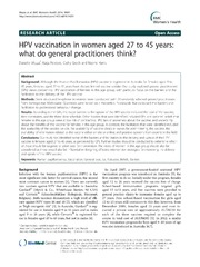 Vol 14: HPV vaccination in women aged 27 to 45 years: what do general practitioners think