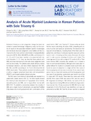 Vol 34: Analysis of Acute Myeloid Leukemia in Korean Patients with Sole Trisomy 6.