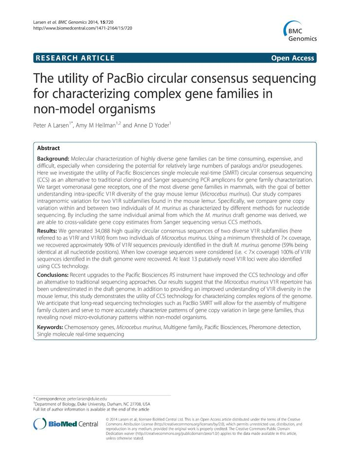 Vol 15: The utility of PacBio circular consensus sequencing for characterizing complex gene families in non-model organisms.