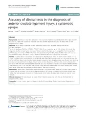Vol 22: Accuracy of clinical tests in the diagnosis of anterior cruciate ligament injury: a systematic review.