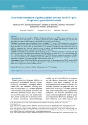 Vol 28: Deep brain stimulation of globus pallidus internus for DYT1 positive primary generalized dystonia.