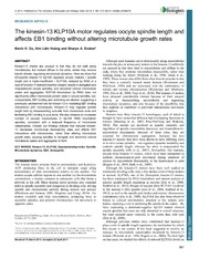 Vol 3: The kinesin-13 KLP10A motor regulates oocyte spindle length and affects EB1 binding without altering microtubule growth rates.