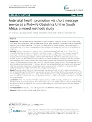 Vol 14: Antenatal health promotion via short message service at a Midwife Obstetrics Unit in South Africa: a mixed methods study.