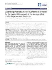 Vol 3: Describing methods and interventions: a protocol for the systematic analysis of the perioperative quality improvement literature.