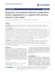 Vol 8: Diagnostic and treatment dilemmas of persistent chronic hypokalaemia in a patient with anorexia nervosa: a case report.