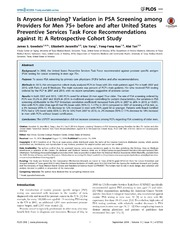 Vol 9: Is Anyone Listening Variation in PSA Screening among Providers for Men 75  before and after United States Preventive Services Task Force Recommendations against It: A Retrospective Cohort Study.