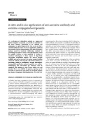 Vol 47: In vitro and in vivo application of anti-cotinine antibody and cotinine-conjugated compounds.