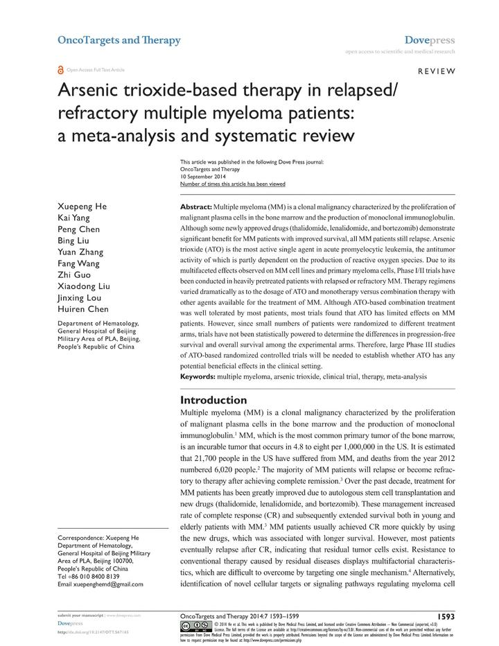 Vol 7: Arsenic trioxide-based therapy in relapsed-refractory multiple myeloma patients: a meta-analysis and systematic review.
