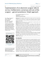 Vol 7: Implementation of an electronic surgical referral service. Collaboration, consensus and cost of the surgeon - general practitioner Delphi approach.