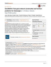 Vol 3: GeneMANIA: Fast gene network construction and function prediction for Cytoscape.