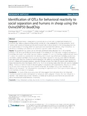 Vol 15: Identification of QTLs for behavioral reactivity to social separation and humans in sheep using the OvineSNP50 BeadChip.