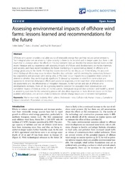 Vol 10: Assessing environmental impacts of offshore wind farms: lessons learned and recommendations for the future.