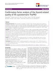 Confirmatory Factor Analysis Of The Thyroid Related Quality Of