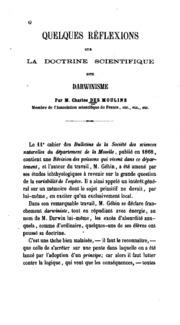 Quelques réflexions sur la doctrine scientifique dite Darwinisme