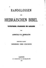 Vol 1: Randglossen zur Hebräischen Bibel