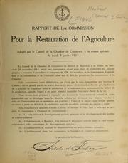 Rapport de la commission pour la restauration de l-agriculture