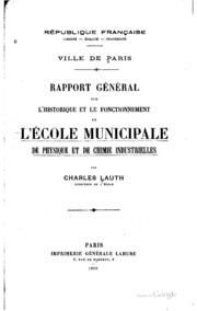 Rapport général sur l-historique et le fonctionnement de l-Ecole municipale ...