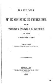 Rapport à Mr le ministre de l-intérieur sur les tableaux enlevés à la ...