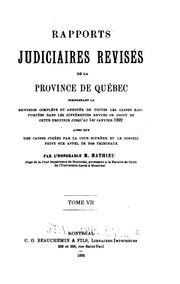 Vol 7: Rapports judiciaires revisés de la Province de Québec electronic resource